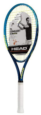 HEAD Ti.Conquest Tennis Racquet, Strung, 4 1:4 Inch Grip