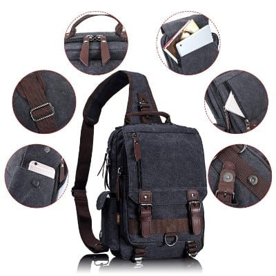 Leaper Canvas Messenger Bag Sling Bag Cross Body Bag Shoulder Bag Black