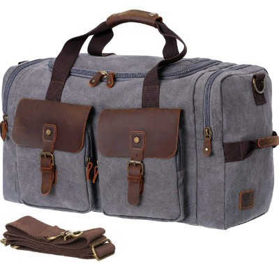 WOWBOX Duffle Bag Weekender Bag for Men Genuine Leather Canvas