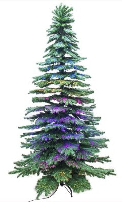 Signstek 7.5FT Fiber Optical Spruce Hinged Artificial Christmas Tree