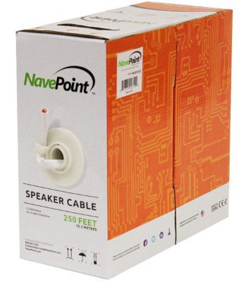 NavePoint 250ft in Wall Audio Speaker Cable Wire CL2 16:2 AWG Gauge 2 Conductor Bulk White