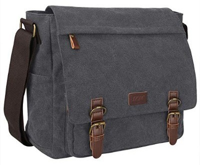 S-ZONE Vintage Canvas Messenger Bag School Shoulder Bag