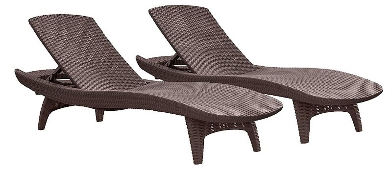 Keter Pacific 2-Packs All-weather Adjustable Outdoor Patio Chaise Lounge Furniture