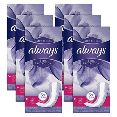 Always Xtra Protection Daily Liners, Extra Long Feminine Panty Liners