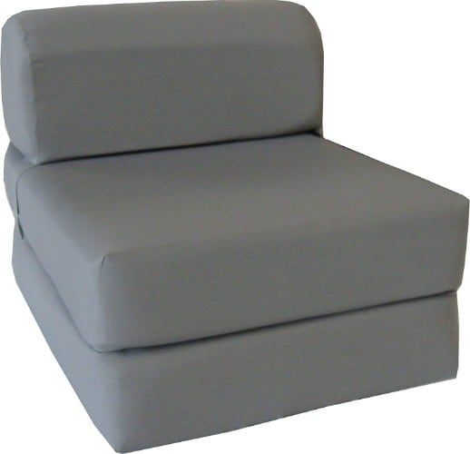 Gray Sleeper Chair Folding Foam Bed Sized 6_ Thick X 32_ Wide X 70_ Long, Studio Guest Foldable