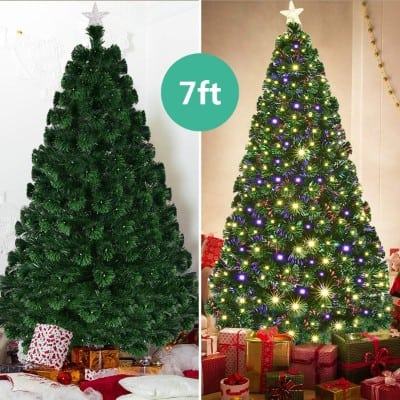 Goplus 7FT Artificial Christmas Tree Pre-Lit Optical Fiber Tree 8 Flash Modes