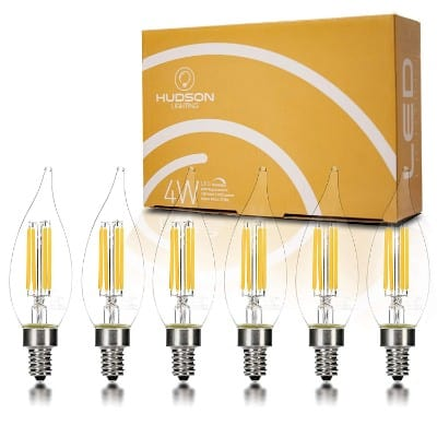 Hudson Lighting Dimmable Flame Tip Candelabra LED Bulbs - UL Listed - 2 Year Warranty
