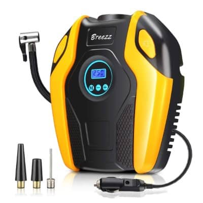 BREEZZ Tire Inflator, Air Compressor Pump, 12V DC Portable Auto Tire Pump