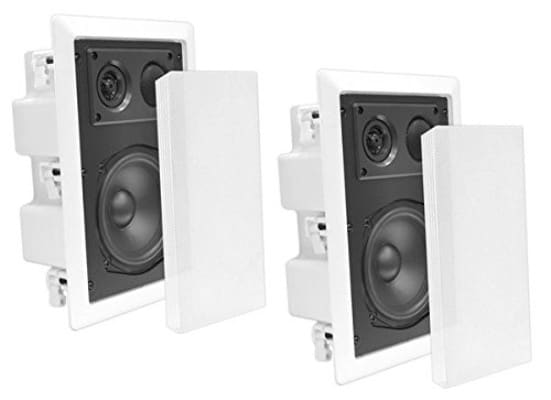 Pyle In-Wall : In-Ceiling Dual 8.0'' Enclosed Speaker Systems, 2-Way Flush Mount Stereo Speakers