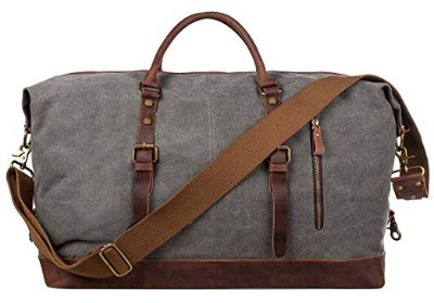 S-ZONE Oversized Canvas Genuine Leather Trim Travel Tote Duffel Shoulder