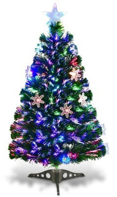 Goplus 3FT Pre-Lit Fiber Optic Artificial Christmas Tree with Multicolor Led Lights