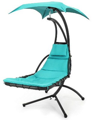 Best Choice Products Hanging Chaise Lounger Chair Arc Stand Air Porch Swing