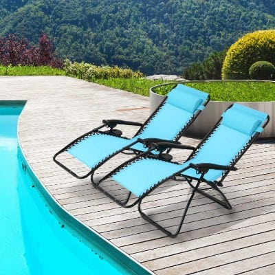 Ollieroo 2-Pack Blue Zero Gravity Lounge Chair with Pillow and Utility Tray Adjustable
