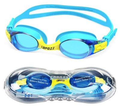 COPOZZ Kids Swimming Goggles, Child (Age 4-12) Waterproof Swim Goggles