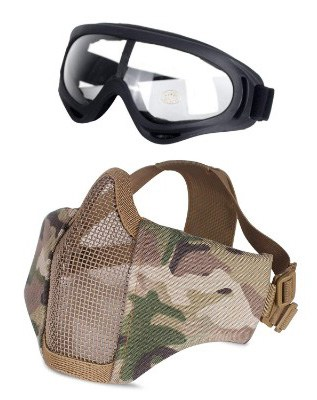 Unigear Airsoft Half Face Masks Steel Mesh Mask with Goggles Set