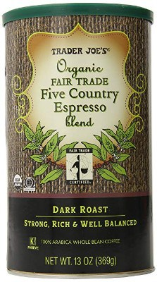 TRADER JOES Organic Fair Trade Five Country Espresso Blend 100% Arabica Roasted