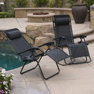 Belleze Set of (2) Zero Gravity Chair Lounge Chairs Patio Seat Backyard Yard