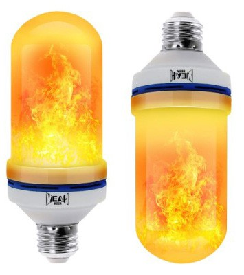 YEAHBEER LED Flame Effect Light Bulb, With Gravity Induced and 4 Lighting Modes