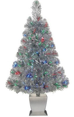 Colorful Fiber Optic Silver Artificial Christmas Tree 32 inch with Stand