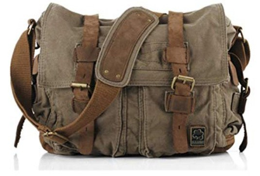 Sechunk Vintage Military Leather Canvas Laptop Bag Messenger Bag