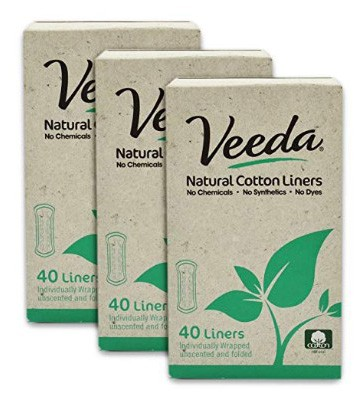 Veeda Natural Cotton Liners, Non-GMO, Hypoallergenic, Folded