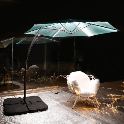 MYAL [Updated Version] Led Cantilever Umbrella 10ft Offset Patio Umbrella