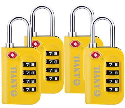 Anvil TSA Approved Luggage Lock - 4 Digit Combination Padlocks with a Hardened Steel Shackle