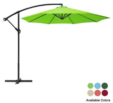Garden Bean 10ft Patio Cantilever Aluminum Umbrella with Crank Outdoor Offset