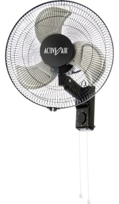 Hydrofarm ACFW16HDB Active Air Whisper Quiet Heavy Duty 16 Wall Mount Fan