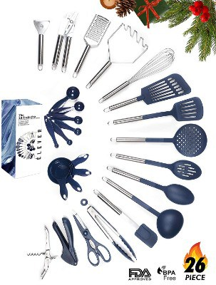 Kitchen Utensil Set - 26 Nonstick Stainless Steel Kitchen Gadgets & Tool Set