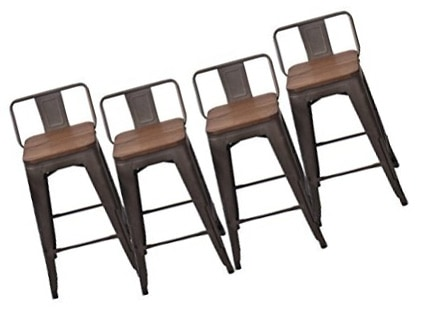 Changjie Furniture Bar Stool-High Backless Powder-Coated Metal Frame- Set of 4