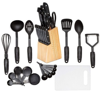 HULLR 30-Piece Kitchen Utensils and Knife Block Set