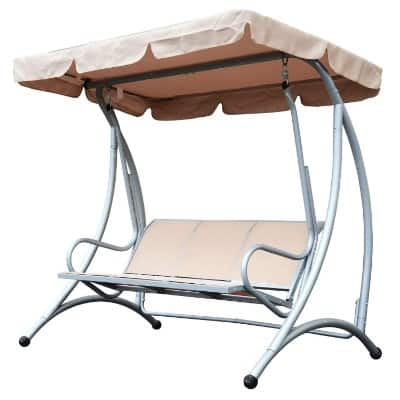 Outsunny 3 Person Steel Outdoor Patio Sling Fabric Swing Chair