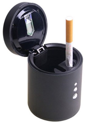 WINOMO Car Cigarette Ashtrays Smokeless Auto Cigarette Ash Holder with LED Light(Black)