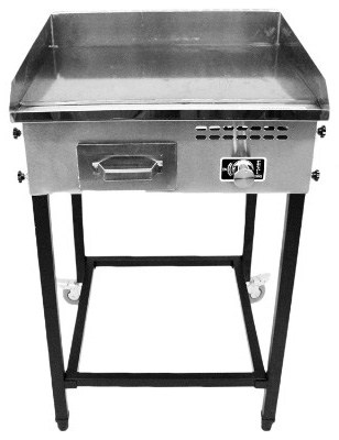 Bioexcel Taco Cart with 21 x 16 Stainless Steel Griddle - Portable Propane Gas Burner Plancha