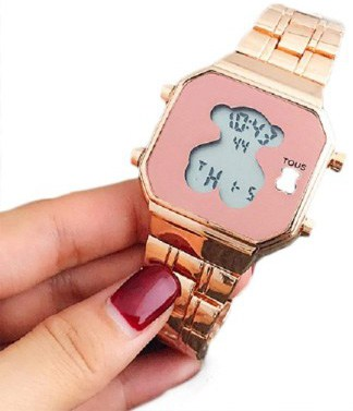 Electronic Digital Bear Wristwatch Noctilucent Fashion Men Women Stainless Steel LED Watch