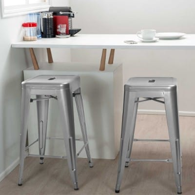 Furmax Silver Metal Stackable Bar Stools, 24-Inches High Outdoor Counter Stools