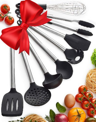 Kitchen Utensil Set - 8 Piece Non-Stick Cooking Utensils & Spatulas - Silicone & Stainless Steel