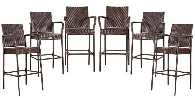 Cloud Mountain Tax-Free Outdoor Wicker Bar Stool, Set of 6