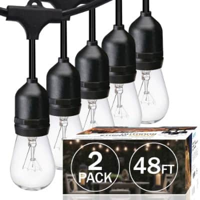 2-Pack SUNTHIN 48ft String of Lights with 15 x E26 Sockets and Hanging Loops