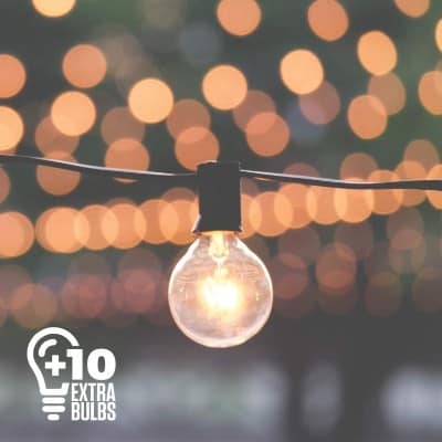 50ft Black String Lights, 60 G40 Globe Bulbs (10 Extra)- Connectable, Waterproof, Indoor:Outdoor