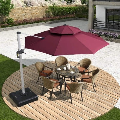 PURPLE LEAF 11 Feet Double Top Deluxe Patio Umbrella Offset