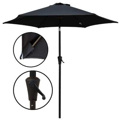 PATIOROMA 7.5 Feet Outdoor Patio Umbrella with Push-Button Tilt and Crank