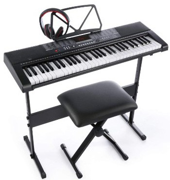Joy 61-Key Standard Electronic Piano Keyboard Set with Stand, Stool, and Power Supply