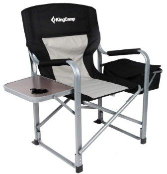 KingCamp Heavy Duty Steel Folding Chair:Director's Chair with Cooler Bag and Side Table