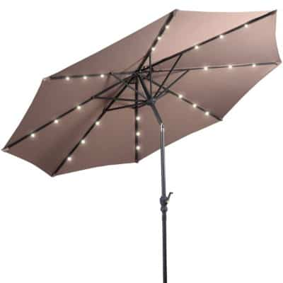 Giantex 10ft Solar Patio Umbrella Sunbrella with LED Lighted, 8 Ribs Market Steel