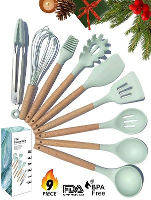 Kitchen Utensil Set - 9 Silicone Cooking Utensils for Non-stick Cookware - Wood Kitchen Utensils