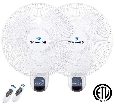 2 Pack - Tornado 16 Inch Digital Wall Mount Fan
