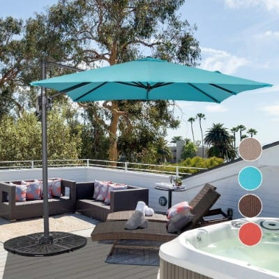 Sundale Outdoor 8.2ft Square Offset Hanging Umbrella Market Patio Umbrella