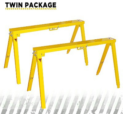 Heavy Duty Folding Adjustable Sawhorse - Twin Package Metal Sawhorse